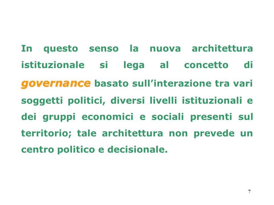 7 governance In questo senso la nuova architettura istituzionale si lega al concetto di governance basato sullinterazione tra vari soggetti politici,