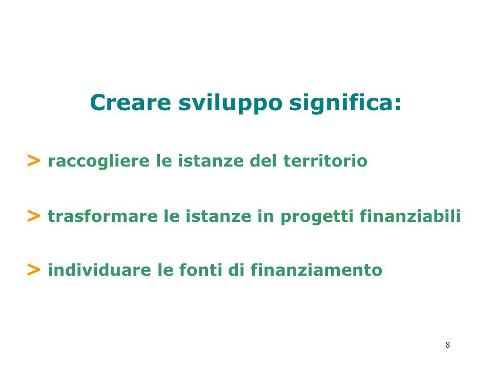 8 Creare sviluppo significa: > raccogliere le istanze del territorio > trasformare le istanze in progetti finanziabili > individuare le fonti di finan