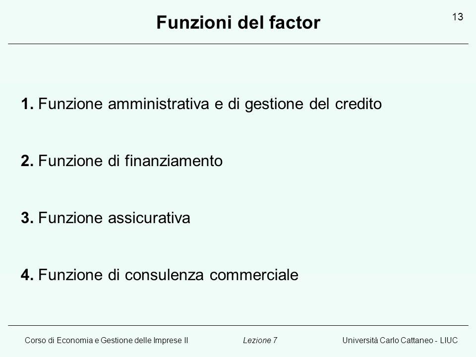 Corso di Economia e Gestione delle Imprese IIUniversità Carlo Cattaneo - LIUCLezione 7 13 Funzioni del factor 1. Funzione amministrativa e di gestione