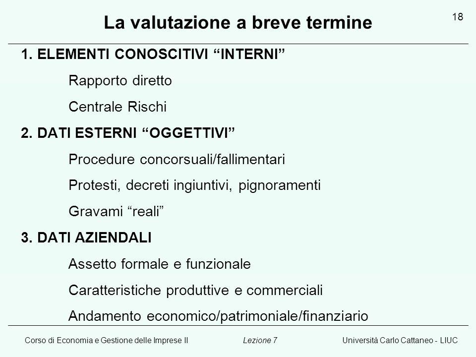 Corso di Economia e Gestione delle Imprese IIUniversità Carlo Cattaneo - LIUCLezione 7 18 La valutazione a breve termine 1. ELEMENTI CONOSCITIVI INTER