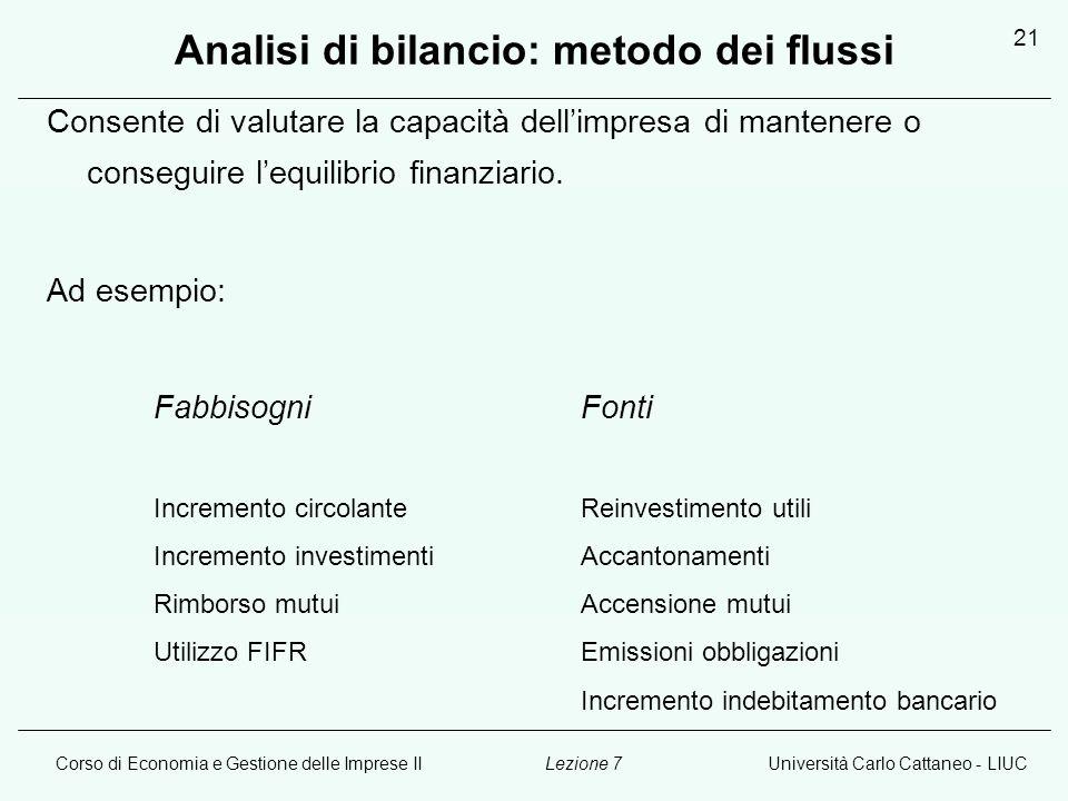 Corso di Economia e Gestione delle Imprese IIUniversità Carlo Cattaneo - LIUCLezione 7 21 Analisi di bilancio: metodo dei flussi Consente di valutare