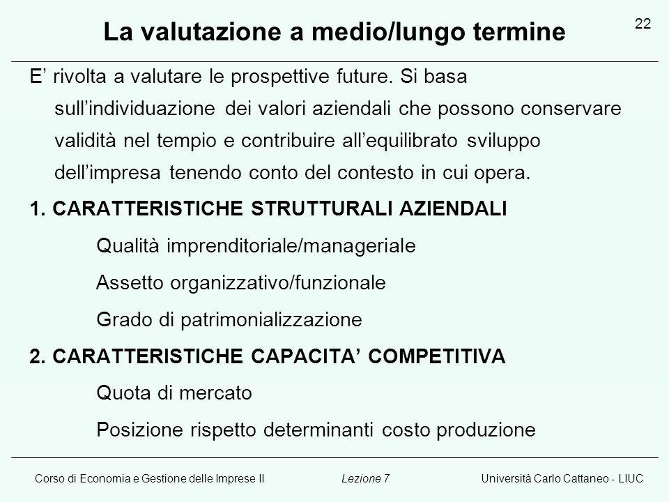 Corso di Economia e Gestione delle Imprese IIUniversità Carlo Cattaneo - LIUCLezione 7 22 La valutazione a medio/lungo termine E rivolta a valutare le