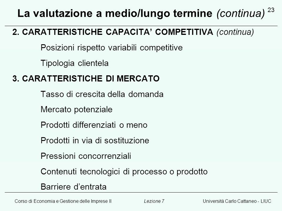 Corso di Economia e Gestione delle Imprese IIUniversità Carlo Cattaneo - LIUCLezione 7 23 La valutazione a medio/lungo termine (continua) 2. CARATTERI