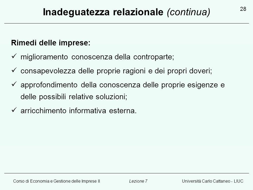 Corso di Economia e Gestione delle Imprese IIUniversità Carlo Cattaneo - LIUCLezione 7 28 Inadeguatezza relazionale (continua) Rimedi delle imprese: m