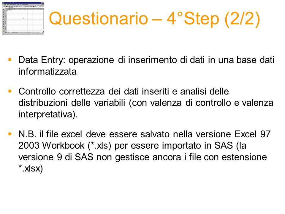 Questionario – 4°Step (2/2) Data Entry: operazione di inserimento di dati in una base dati informatizzata Controllo correttezza dei dati inseriti e analisi delle distribuzioni delle variabili (con valenza di controllo e valenza interpretativa).