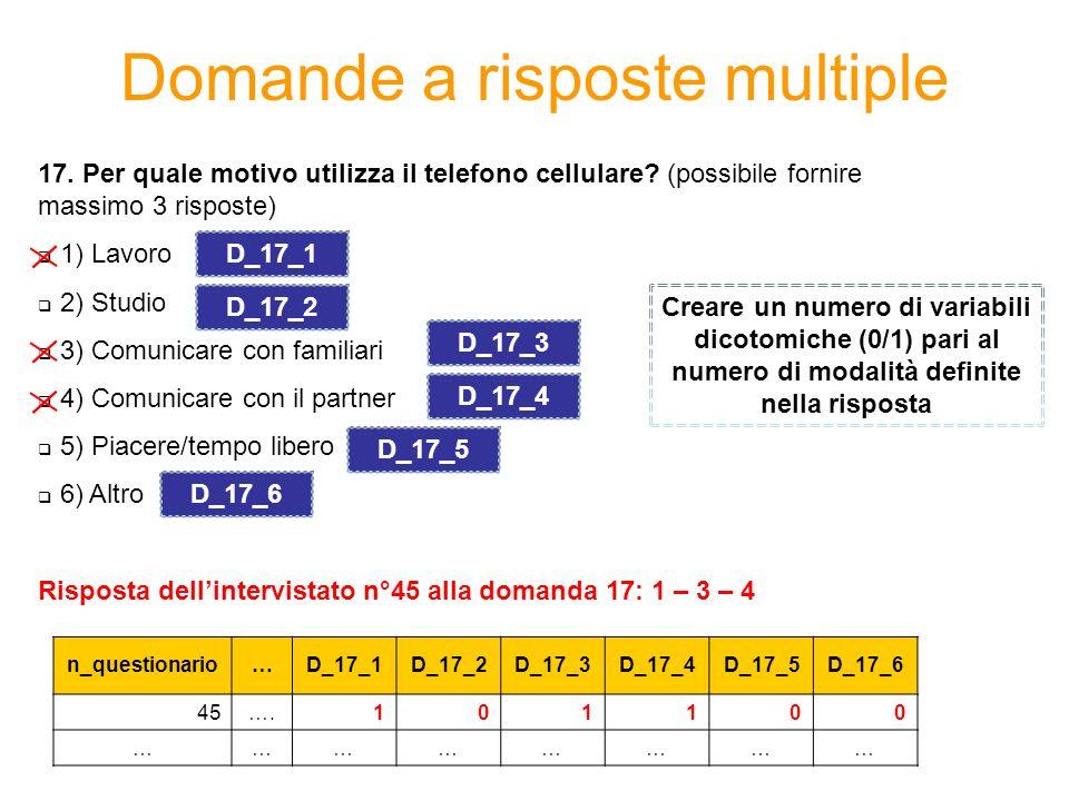 Domande a risposte multiple 17. Per quale motivo utilizza il telefono cellulare? (possibile fornire massimo 3 risposte) 1) Lavoro 2) Studio 3) Comunic