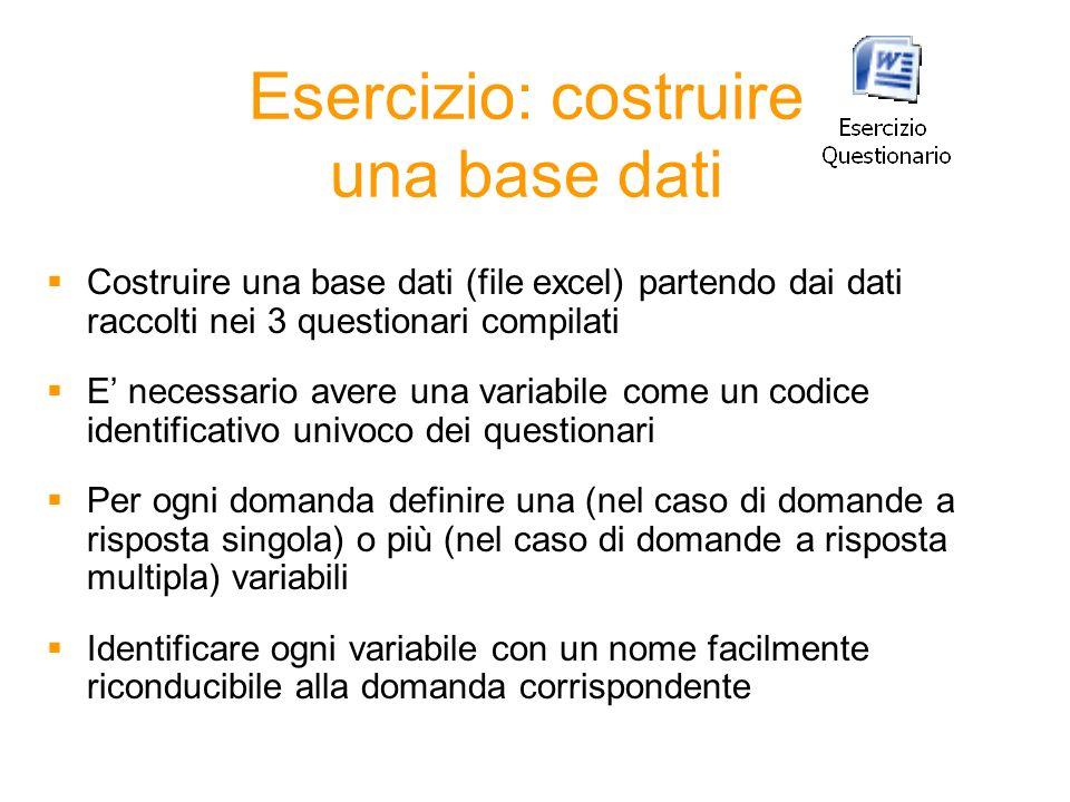 Esercizio: costruire una base dati Costruire una base dati (file excel) partendo dai dati raccolti nei 3 questionari compilati E necessario avere una