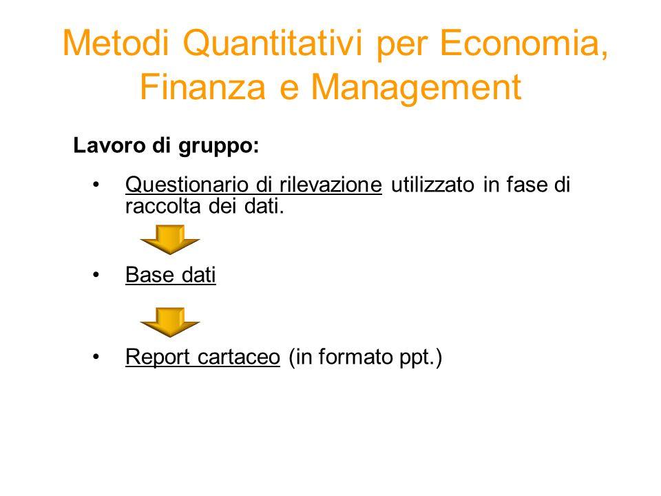 Lavoro di gruppo: Questionario di rilevazione utilizzato in fase di raccolta dei dati. Base dati Report cartaceo (in formato ppt.) Metodi Quantitativi