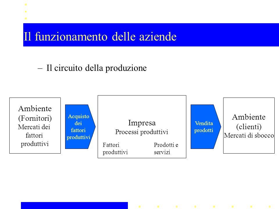–Il circuito della produzione Impresa Processi produttivi Ambiente (Fornitori) Mercati dei fattori produttivi Ambiente (clienti) Mercati di sbocco Fat