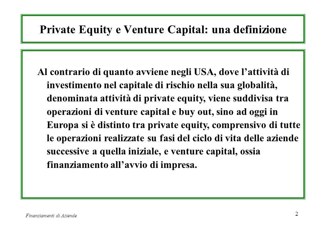 Finanziamenti di Aziende 2 Private Equity e Venture Capital: una definizione Al contrario di quanto avviene negli USA, dove lattività di investimento