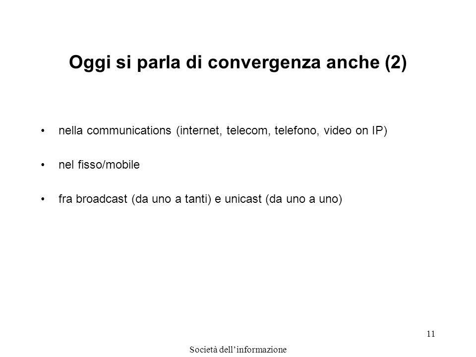 Società dellinformazione 11 Oggi si parla di convergenza anche (2) nella communications (internet, telecom, telefono, video on IP) nel fisso/mobile fr