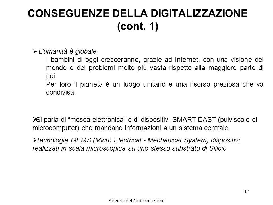 Società dellinformazione 14 CONSEGUENZE DELLA DIGITALIZZAZIONE (cont. 1) Lumanità è globale I bambini di oggi cresceranno, grazie ad Internet, con una