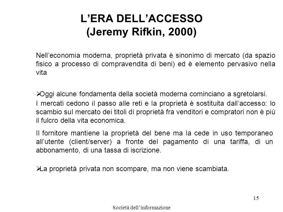 Società dellinformazione 15 LERA DELLACCESSO (Jeremy Rifkin, 2000) Nelleconomia moderna, proprietà privata è sinonimo di mercato (da spazio fisico a p