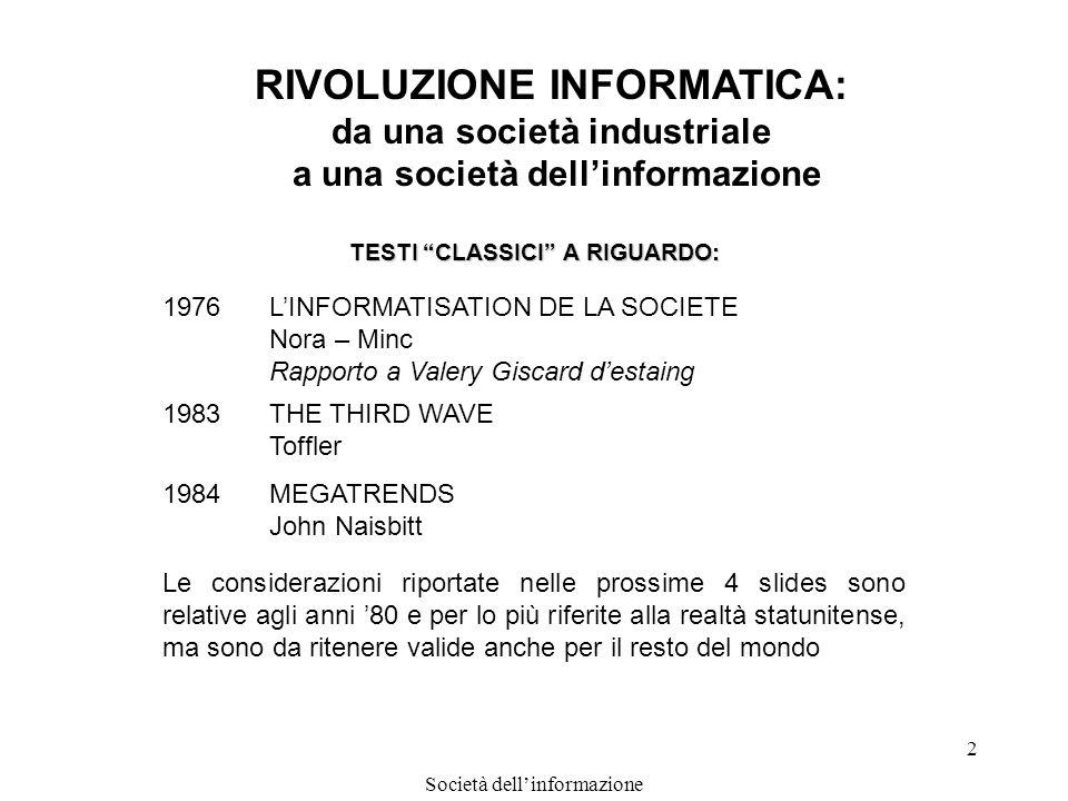 Società dellinformazione 2 RIVOLUZIONE INFORMATICA: da una società industriale a una società dellinformazione TESTI CLASSICI A RIGUARDO: 1976LINFORMAT