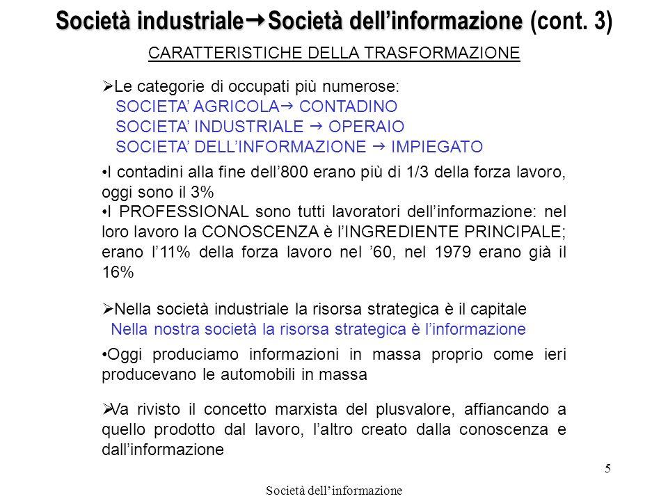 Società dellinformazione 6 CARATTERISTICHE DELLA TRASFORMAZIONE (cont.) Società industriale Società dellinformazione Società industriale Società dellinformazione (cont.