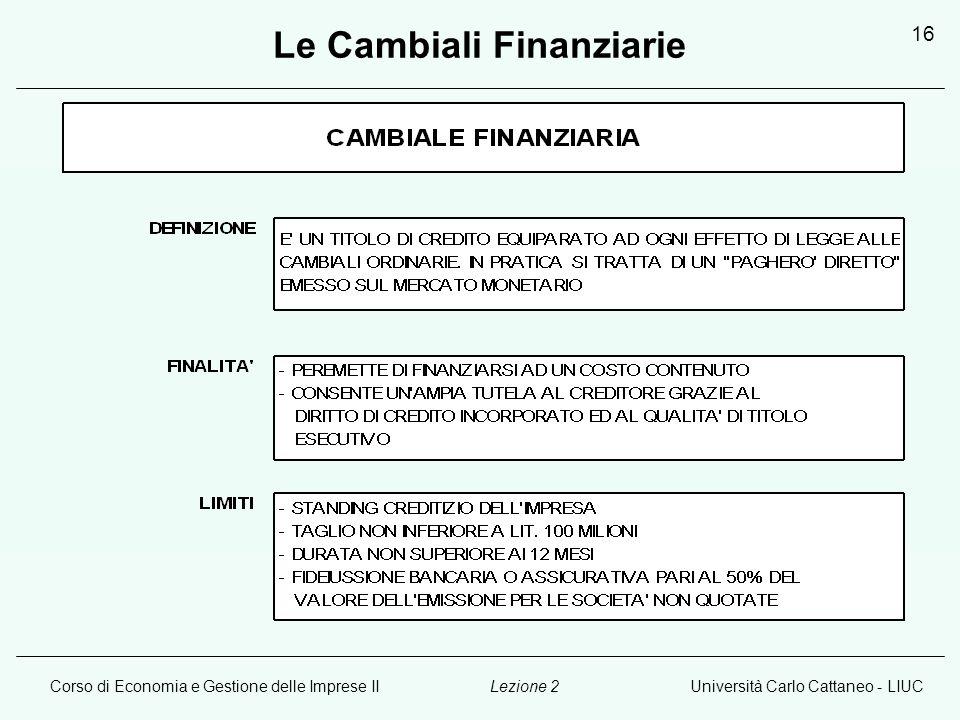 Corso di Economia e Gestione delle Imprese IIUniversità Carlo Cattaneo - LIUCLezione 2 16 Le Cambiali Finanziarie