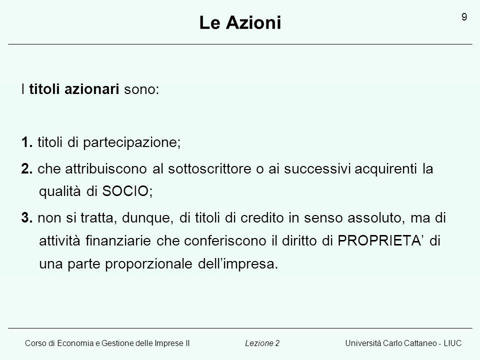 Corso di Economia e Gestione delle Imprese IIUniversità Carlo Cattaneo - LIUCLezione 2 10 Le Azioni: caratteristiche dello strumento