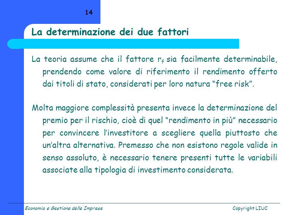 Economia e Gestione delle ImpreseCopyright LIUC 14 La determinazione dei due fattori La teoria assume che il fattore r f sia facilmente determinabile,