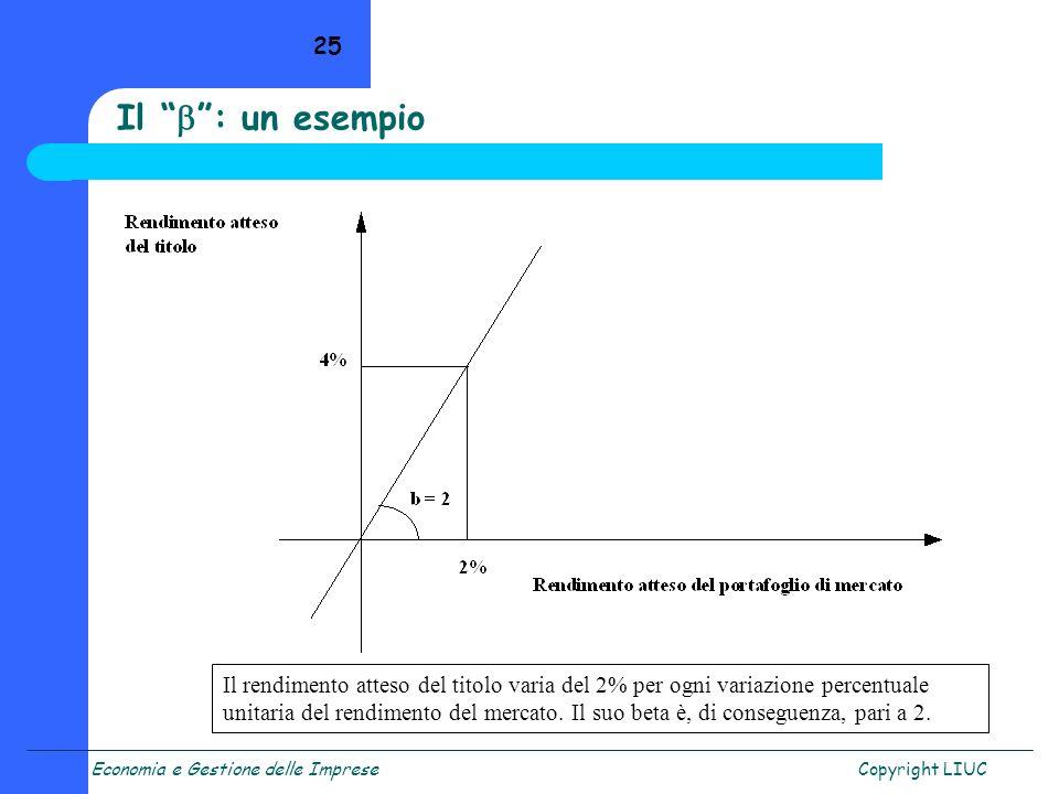 Economia e Gestione delle ImpreseCopyright LIUC 25 Il : un esempio Il rendimento atteso del titolo varia del 2% per ogni variazione percentuale unitar