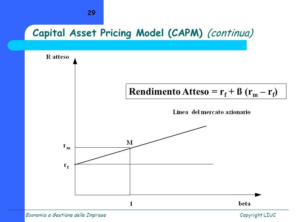 Economia e Gestione delle ImpreseCopyright LIUC 29 Capital Asset Pricing Model (CAPM) (continua) Rendimento Atteso = r f + ß (r m – r f )