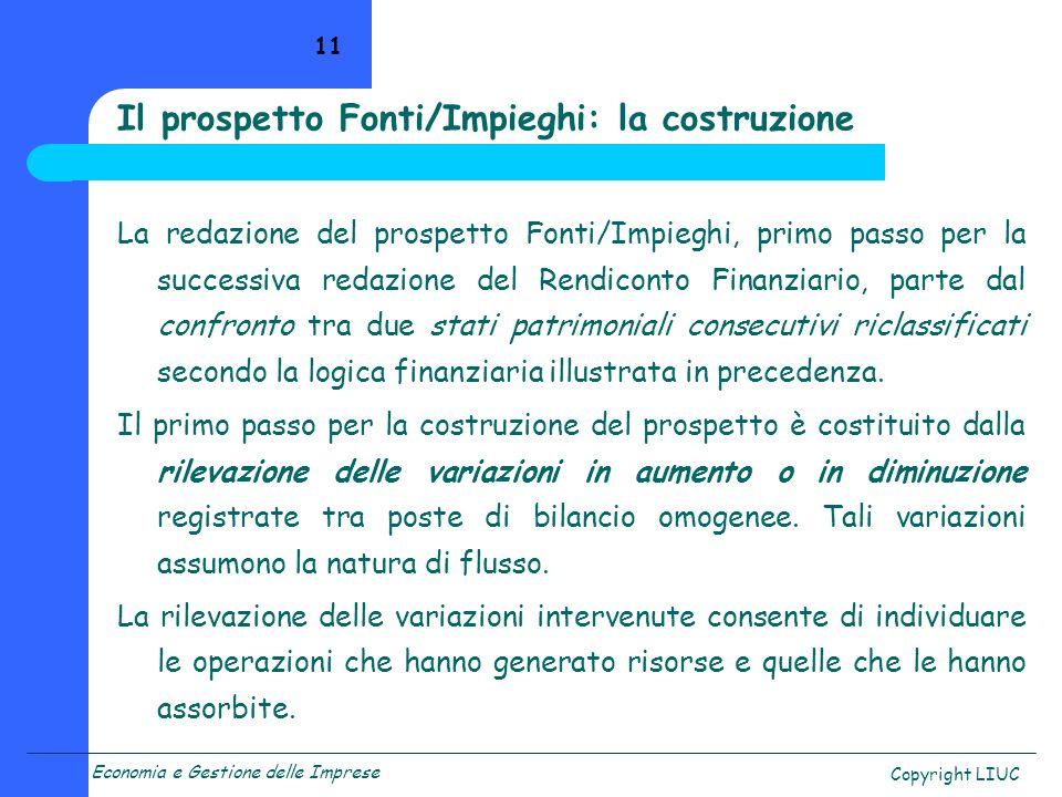 Economia e Gestione delle Imprese Copyright LIUC 11 La redazione del prospetto Fonti/Impieghi, primo passo per la successiva redazione del Rendiconto