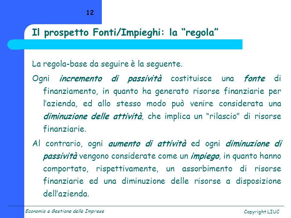 Economia e Gestione delle Imprese Copyright LIUC 12 La regola-base da seguire è la seguente. Ogni incremento di passività costituisce una fonte di fin