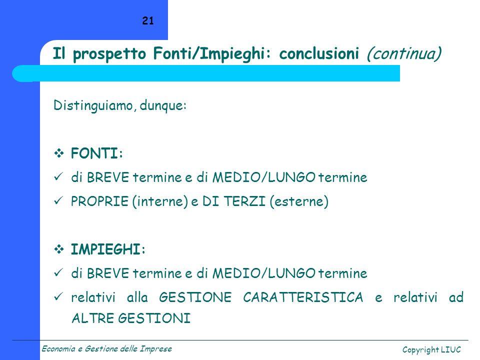 Economia e Gestione delle Imprese Copyright LIUC 21 Distinguiamo, dunque: FONTI: di BREVE termine e di MEDIO/LUNGO termine PROPRIE (interne) e DI TERZ