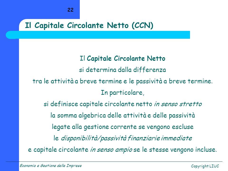 Economia e Gestione delle Imprese Copyright LIUC 22 Il Capitale Circolante Netto si determina dalla differenza tra le attività a breve termine e le pa