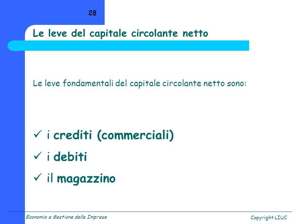 Economia e Gestione delle Imprese Copyright LIUC 28 Le leve fondamentali del capitale circolante netto sono: i crediti (commerciali) i debiti il magaz