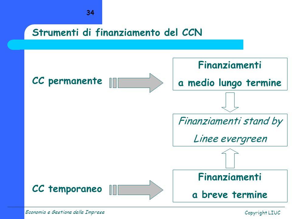 Economia e Gestione delle Imprese Copyright LIUC 34 CC permanente CC temporaneo Finanziamenti a medio lungo termine Finanziamenti stand by Linee everg