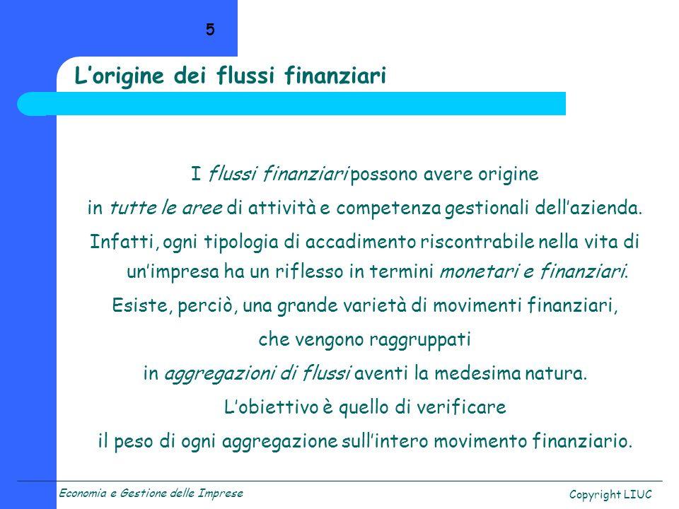 Economia e Gestione delle Imprese Copyright LIUC 5 I flussi finanziari possono avere origine in tutte le aree di attività e competenza gestionali dell