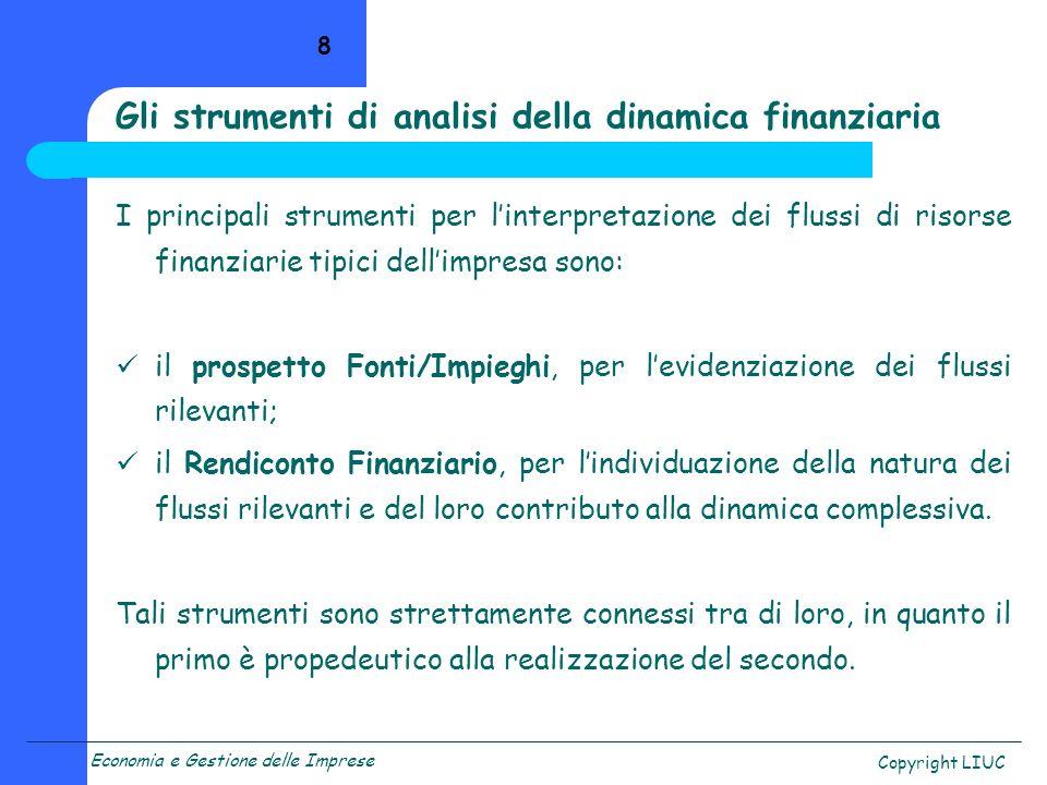 Economia e Gestione delle Imprese Copyright LIUC 19 Il prospetto fornisce le prime indicazioni sulla dinamica finanziaria.