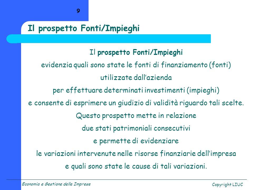 Economia e Gestione delle Imprese Copyright LIUC 9 Il prospetto Fonti/Impieghi evidenzia quali sono state le fonti di finanziamento (fonti) utilizzate