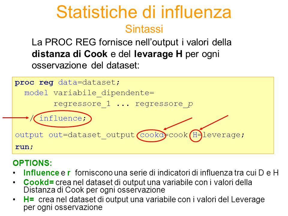 Sintassi La PROC REG fornisce nelloutput i valori della distanza di Cook e del levarage H per ogni osservazione del dataset: proc reg data=dataset; mo