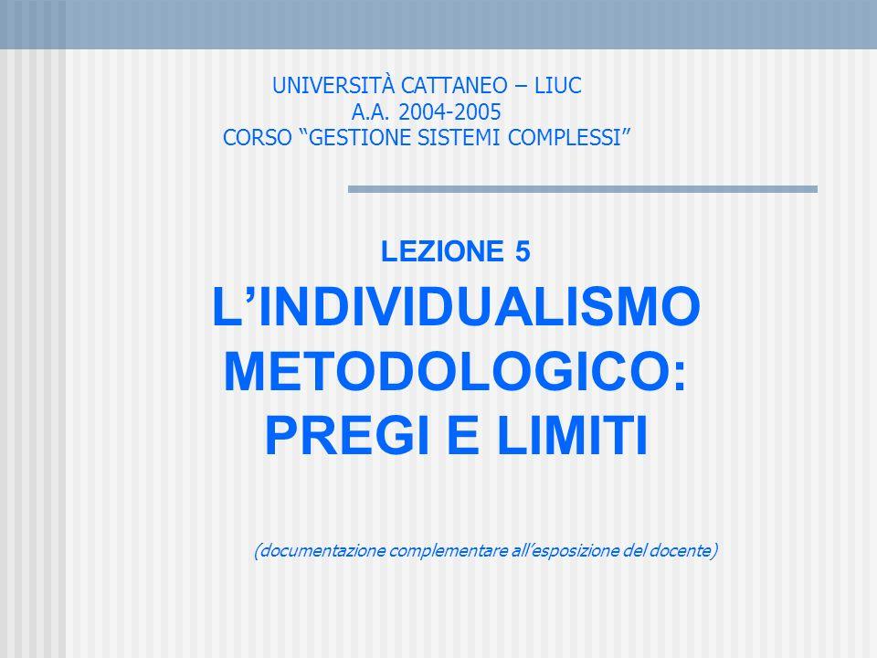 UNIVERSITÀ CATTANEO – LIUC A.A. 2004-2005 CORSO GESTIONE SISTEMI COMPLESSI LEZIONE 5 LINDIVIDUALISMO METODOLOGICO: PREGI E LIMITI (documentazione comp