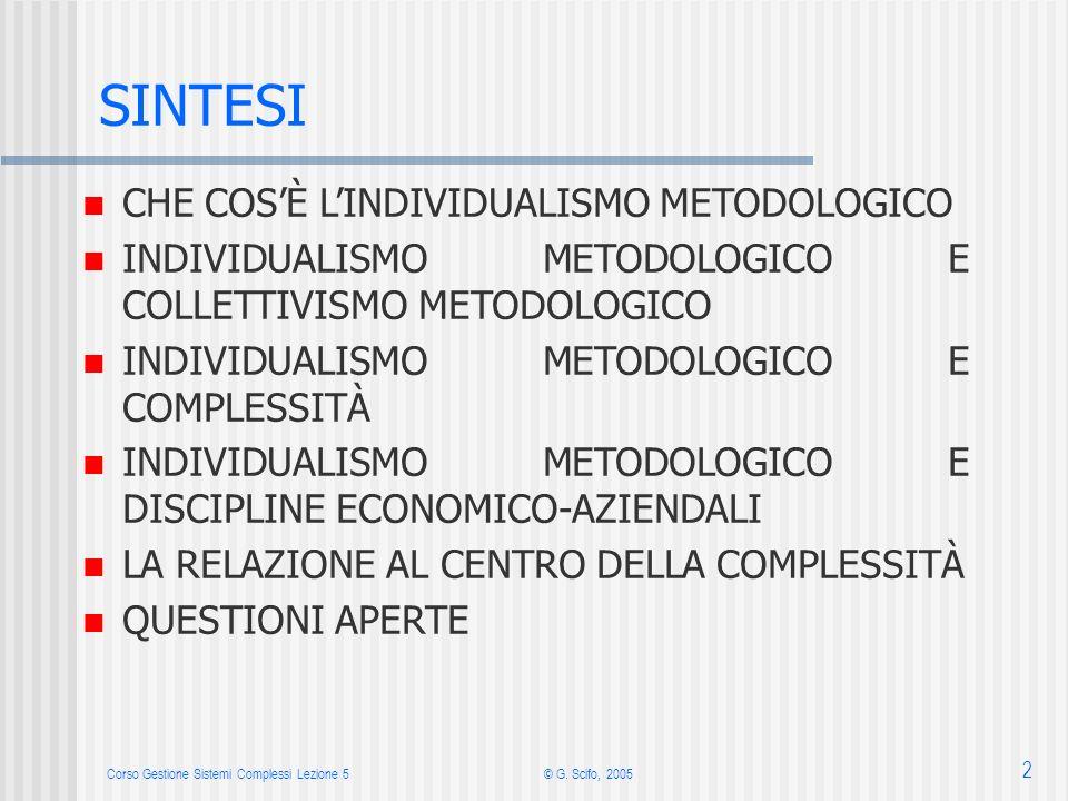 Corso Gestione Sistemi Complessi Lezione 5© G. Scifo, 2005 2 n CHE COSÈ LINDIVIDUALISMO METODOLOGICO n INDIVIDUALISMO METODOLOGICO E COLLETTIVISMO MET