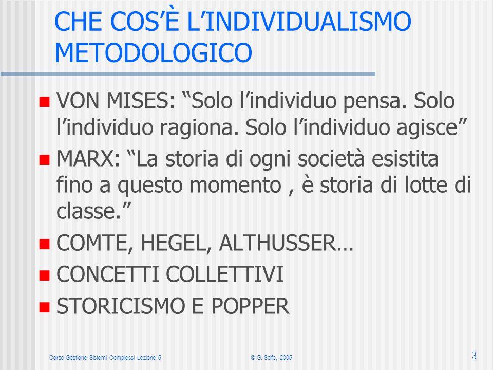 Corso Gestione Sistemi Complessi Lezione 5© G. Scifo, 2005 3 CHE COSÈ LINDIVIDUALISMO METODOLOGICO VON MISES: Solo lindividuo pensa. Solo lindividuo r