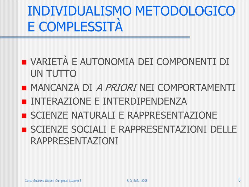 Corso Gestione Sistemi Complessi Lezione 5© G. Scifo, 2005 5 INDIVIDUALISMO METODOLOGICO E COMPLESSITÀ VARIETÀ E AUTONOMIA DEI COMPONENTI DI UN TUTTO