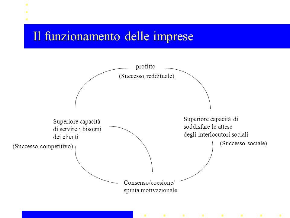 Superiore capacità di soddisfare le attese degli interlocutori sociali profitto Superiore capacità di servire i bisogni dei clienti Consenso/coesione/ spinta motivazionale Il funzionamento delle imprese (Successo reddituale) (Successo sociale) (Successo competitivo)