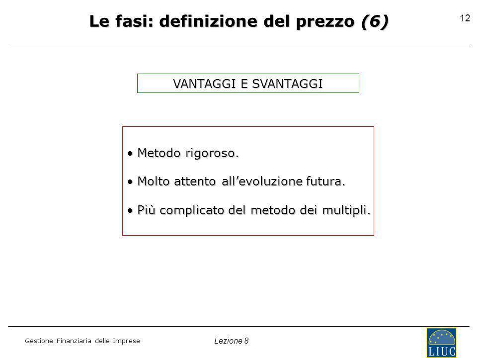 Lezione 8 Gestione Finanziaria delle Imprese 12 Le fasi: definizione del prezzo (6) Metodo rigoroso.