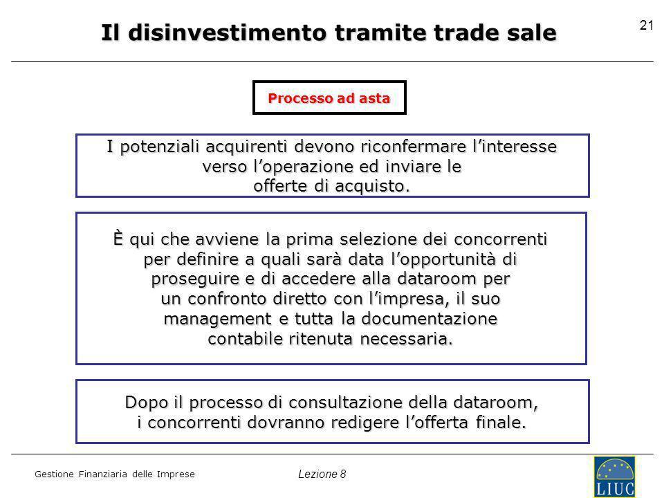 Lezione 8 Gestione Finanziaria delle Imprese 21 Il disinvestimento tramite trade sale I potenziali acquirenti devono riconfermare linteresse verso loperazione ed inviare le offerte di acquisto.