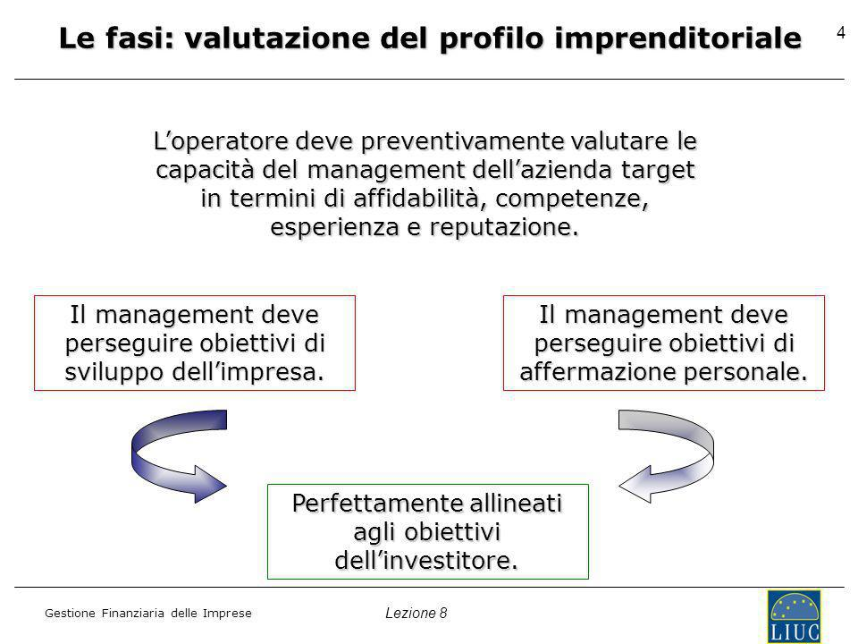 Lezione 8 Gestione Finanziaria delle Imprese 4 Le fasi: valutazione del profilo imprenditoriale Loperatore deve preventivamente valutare le capacità del management dellazienda target in termini di affidabilità, competenze, esperienza e reputazione.