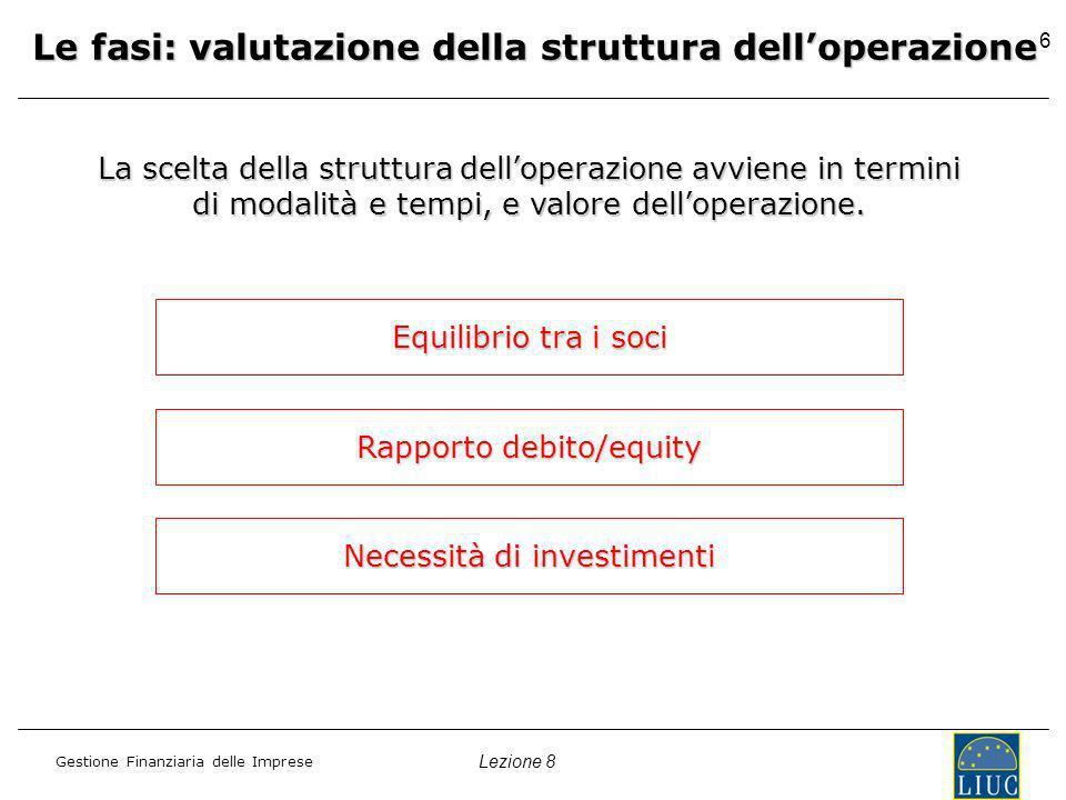 Lezione 8 Gestione Finanziaria delle Imprese 6 Le fasi: valutazione della struttura delloperazione La scelta della struttura delloperazione avviene in termini di modalità e tempi, e valore delloperazione.