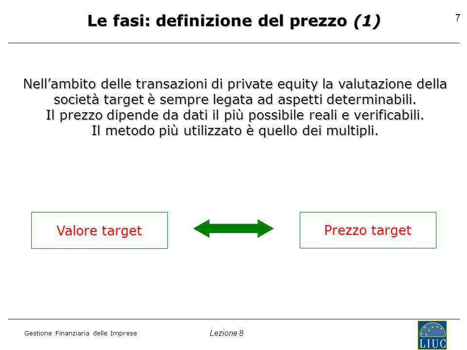 Lezione 8 Gestione Finanziaria delle Imprese 8 Le fasi: definizione del prezzo (2) Il metodo dei multipli EV EVEBITDA EBIT EBIT EV EVSALES Metodo di immediata e facileMetodo di immediata e facile applicazione.