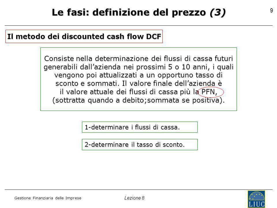 Lezione 8 Gestione Finanziaria delle Imprese 9 Le fasi: definizione del prezzo (3) Il metodo dei discounted cash flow DCF Consiste nella determinazione dei flussi di cassa futuri generabili dallazienda nei prossimi 5 o 10 anni, i quali vengono poi attualizzati a un opportuno tasso di sconto e sommati.
