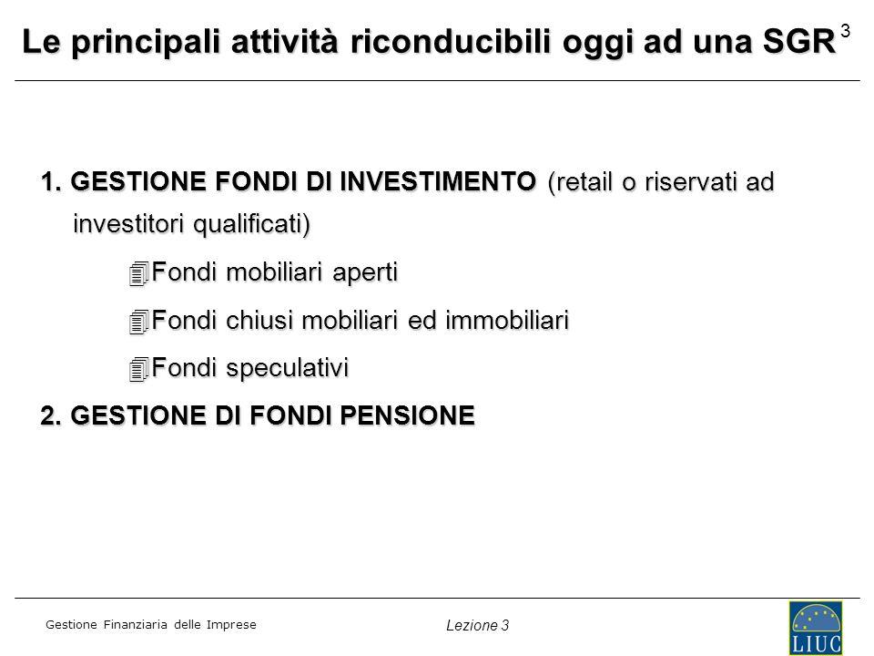 Gestione Finanziaria delle Imprese Lezione 3 3 Le principali attività riconducibili oggi ad una SGR 1.