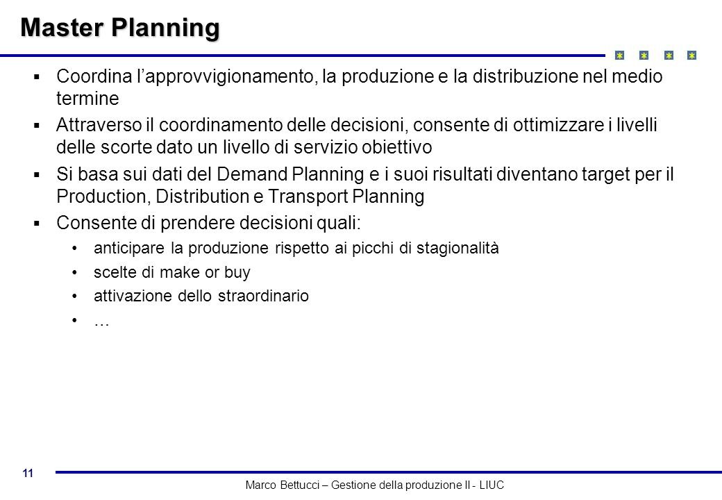 11 Marco Bettucci – Gestione della produzione II - LIUC Master Planning Coordina lapprovvigionamento, la produzione e la distribuzione nel medio termi