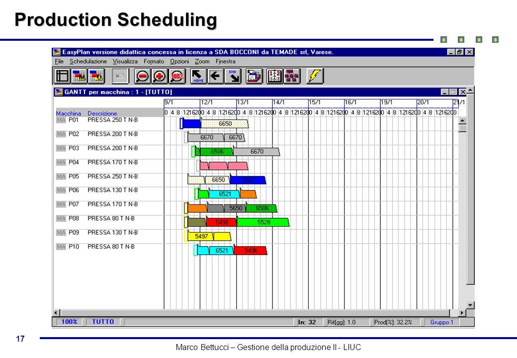 17 Marco Bettucci – Gestione della produzione II - LIUC Production Scheduling