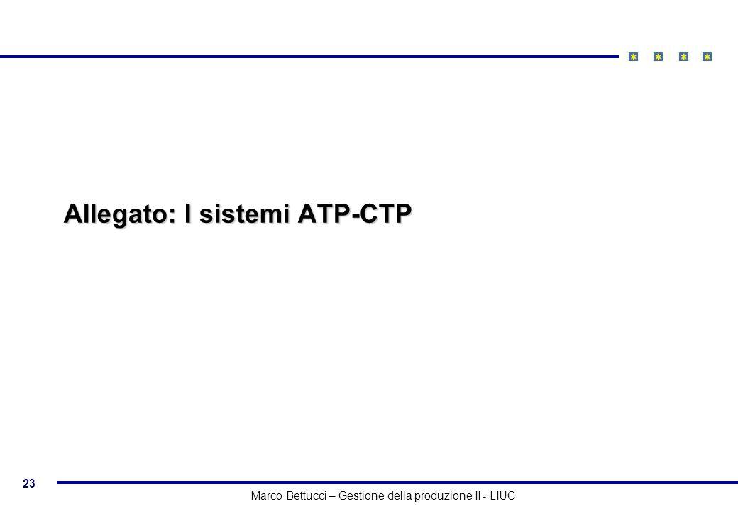 23 Marco Bettucci – Gestione della produzione II - LIUC Allegato: I sistemi ATP-CTP