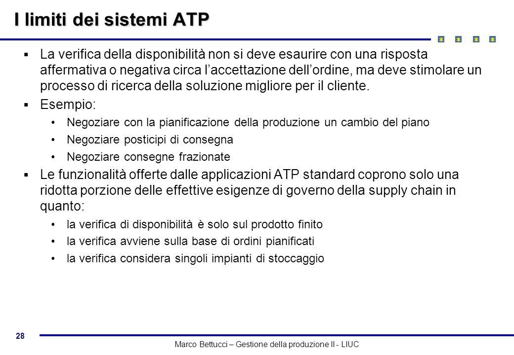 28 Marco Bettucci – Gestione della produzione II - LIUC I limiti dei sistemi ATP La verifica della disponibilità non si deve esaurire con una risposta
